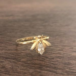 Gold diamond colored bee bug ring quirky fun